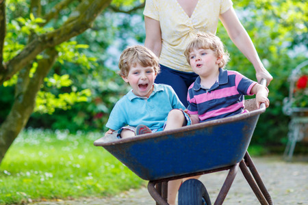 domestic garden: Two little boys having fun in a wheelbarrow pushing by mother  in domestic garden, on warm sunny day. Active outdoors games for kids in summer.