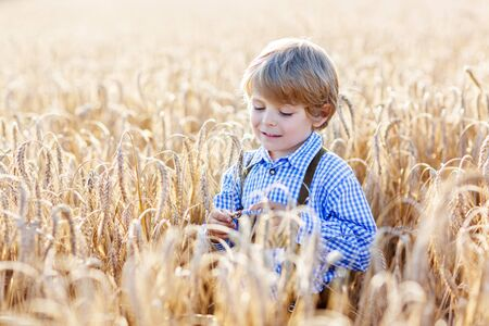 warm shirt: Funny little kid boy in traditional German bavarian clothes, leather shorts and check shirt, , walking happily through wheat field near  hay stack or bale. Active outdoors leisure with children on warm summer day.