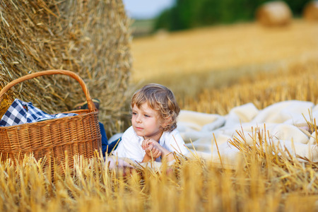 hay field: Cute blond kid boy having picnic on yellow hay field in summer, outdoors. Active leisure with children in nature. Stock Photo