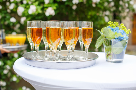 skoal: Dish with champagne and wine glasses. On outdoor wedding reception in summer.