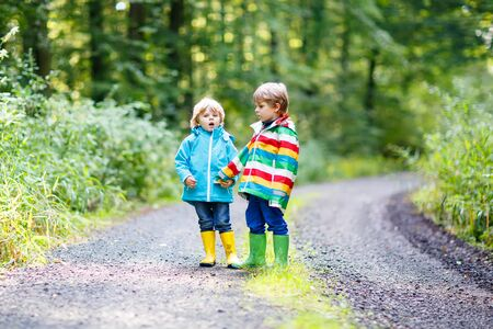 Two little sibling boys in colorful waterproof raincoats and rubber boots having fun in autumn forest together.