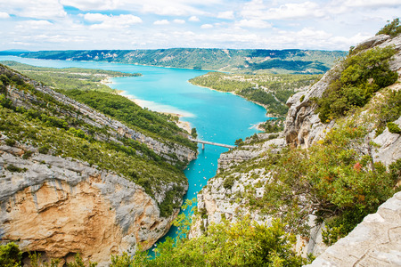 gorges: Gorges du Verdon,Provence in France, Europe. Beautiful view on lac de sainte-croix on summer day.