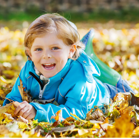 leaf color: Little kid boy with yellow autumn leaves in park. Having fun on sunny warm october day Stock Photo