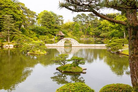 honshu: Shukkeien is a pleasant Japanese style garden in Hiroshima, Japan.