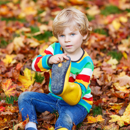 kiddies: Little cute kid boy in autumn leaves in colorful clothing. Happy siblings having fun in autumn park on warm day.