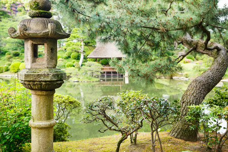 japanese temple: Shukkeien is a pleasant Japanese style garden in Hiroshima, Japan.