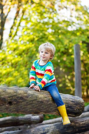 kiddies: Little kid boy in colorful shirt with stripes and gumboots having fun with playing on playground on warm, autumn day, outdoors Stock Photo