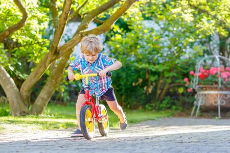 family with one child: funny blond kid boy driving bicycle in domestic garden. Toddler child having fun on warm summer day. Active games for children outdoors.