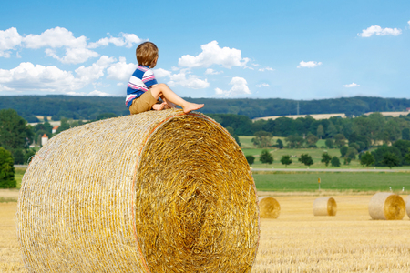 warm shirt: Adorable little kid boy in traditional German bavarian clothes, leather shorts and check shirt. Child sitting on hay stack or bale and dreaming. Active outdoors leisure with children on warm summer day. Stock Photo