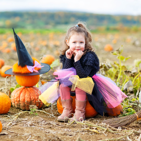 celebrate: Beautiful little girl of 3 years wearing halloween witch costume having fun on a pumpkin farm. Traditional family festival with children. Stock Photo