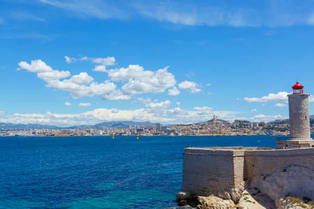 major ocean: View on Marseille from Chateau dIf,  France. On sunny warm day in Provence.