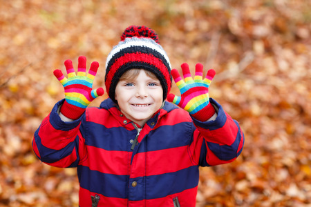cold: Portrait of happy cute little kid boy with autumn leaves background in colorful clothing. Funny child having fun in fall forest or park on cold day. With hat and gloves Stock Photo