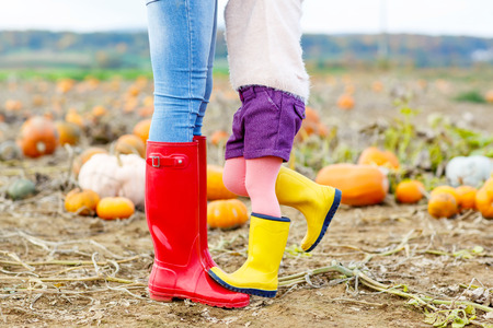 babies playing outside: Legs of young woman and her little kid girl daugher in rainboots. Woman in red gum boots, child in yellow shoes. On pumpkin field, outdoors.