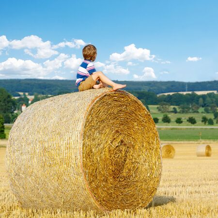warm shirt: Adorable little kid boy in traditional German bavarian clothes, leather shorts and check shirt. Child sitting on hay bale and dreaming. Active outdoors leisure  on warm summer day.