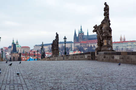 charles bridge: Empty Charles Bridge in Prague in the morning; Czech Republic Stock Photo