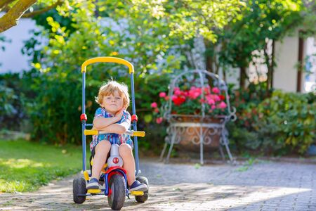 domestic garden: funny blond kid boy driving bicycle in domestic garden. Toddler child dreaming and having fun on warm summer day with tricycle. Active games for children outdoors.