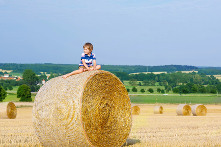 warm shirt: Happy little kid boy in traditional German bavarian clothes, leather shorts and check shirt. Child sitting on hay stack or bale and dreaming. Active outdoors leisure with children on warm summer day.