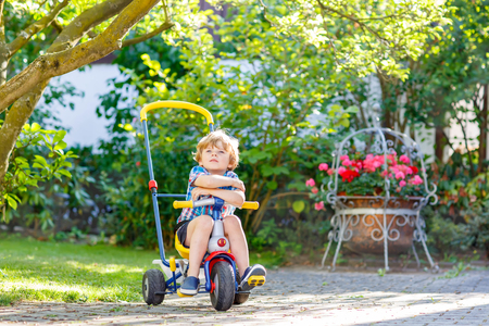 domestic garden: Active blond kid boy driving tricycle or bicycle in domestic garden. Toddler child dreaming and having fun on warm summer day. Active games for children outdoors.