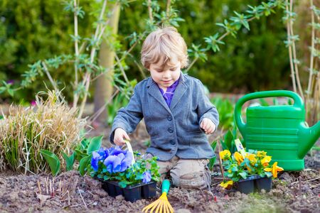 Cute little kid boy helping with gardening in spring garden. Funny child planting flowers. Family, spring, planting concept.