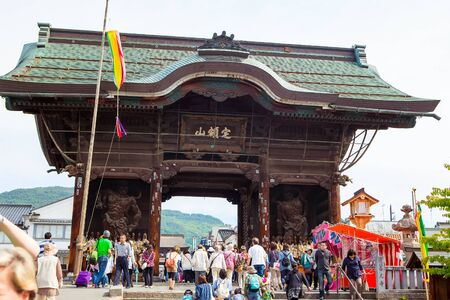 hondo: NAGANO, JAPAN - MAY 23, 2015: Zenkoji Temple, Nagano, JAPAN. One of the most important temples in Japan which was built in the 7th century in jubilee year