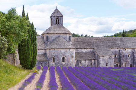 the luberon: Abbey of Senanque and blooming rows lavender flowers. Gordes, Luberon, Vaucluse, Provence, France, Europe. Stock Photo