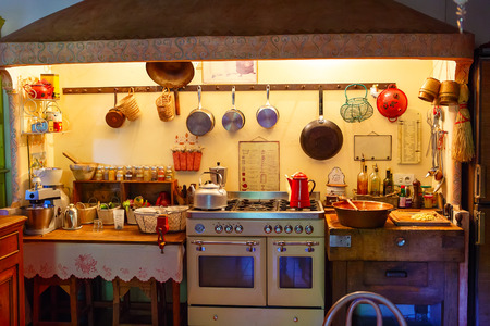 vintage dishware: The interior of rural, old fashioned, vintage kitchen. Provence style. Stock Photo