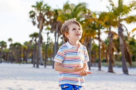 key biscayne: Adorable active little kid boy having fun on Miami beach, Key Biscayne. Happy cute child smiling and laughing at the camera and having dreams.