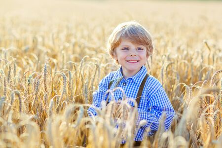boy shorts: Funny little kid boy in traditional German bavarian clothes, leather shorts and check shirt, walking happily through wheat field near  hay stack or bale. Active outdoors leisure with children on warm summer day.