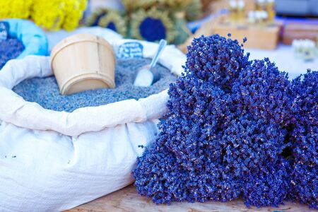 vaucluse: Lavender, herbals for selling on farmer market in Gordes, Provence, France Stock Photo