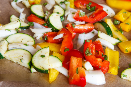 oven tray: Colorful paprika onion zucchini fennel on oven tray prepared for baking Stock Photo