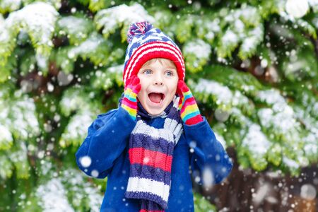 having fun in the snow: Winter portrait of little kid boy in colorful clothes, outdoors during snowfall. Active outdoors leisure with children in winter on cold snowy days. Happy child having fun with snow Stock Photo