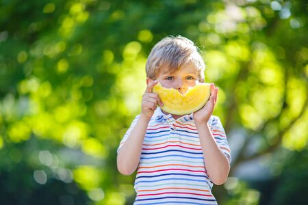 5 6 years: Adorable little preschool kid boy with blond hairs eating watermelon in summer garden. Funny happy child smiling and tasting healthy fruit snack on sunny day.