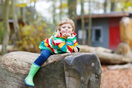 kiddies: Little kid boy in colorful rain jacket with stripes and gumboots having fun with playing on playground on warm, autumn day, outdoors