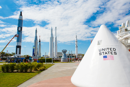 cape canaveral: KENNEDY SPACE CENTER, FLORIDA, USA - APRIL 21, 2016: Several rockets are exhibited in rocket garden in the visitor complex of Kennedy Space Center near Cape Canaveral in Florida