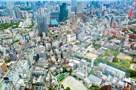 mori: View from above on Tokyo Tower with skyline in Japan from roppongi towers on cloudy day
