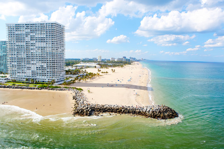 taking bath: Aerial view of Miami South Beach, Florida, USA. With surfers and peple taking bath and swimming.