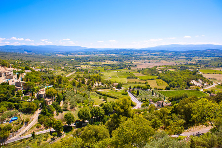 tropez: View on provencal village roof and landscape, Provence, France. On sunny summer day. Stock Photo