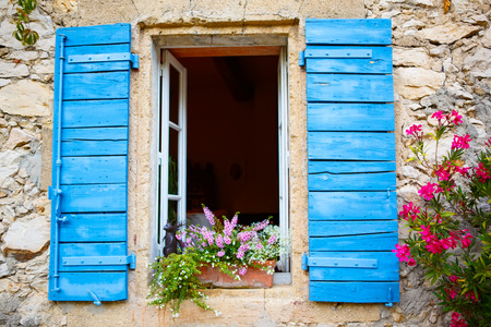 Part of provencal house of small typical town in Provence, France. Beautiful village, with french cute details