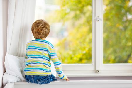愛らしい小さなの金髪の子供男の子の窓の近くに座っていると雨粒と黄色の秋の風景と木、屋内で探して。カラフルな服で幸せな面白い子。 写真素材