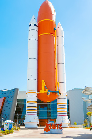 KENNEDY SPACE CENTER, FLORIDA, USA - APRIL 21, 2016: Several rockets are exhibited in the visitor complex of Kennedy Space Center near Cape Canaveral in Florida. Atlantis space shuttle pavilion. Editorial