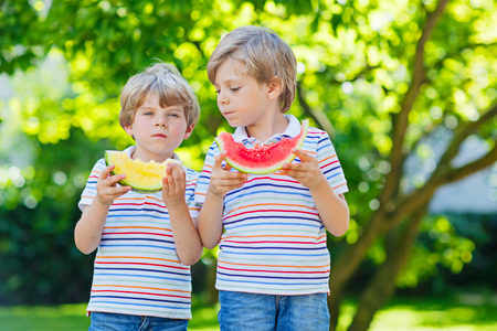Two little preschool kid boys eating red and yellow watermelon in summer garden. Funny happy children smiling, with healthy fruit snack on sunny day. Siblings, twins and best friends outdoors photo