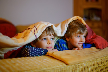 cartoons television: Happy little brothers, adorable kid boys watching television while lying. Funny children enjoying cartoons