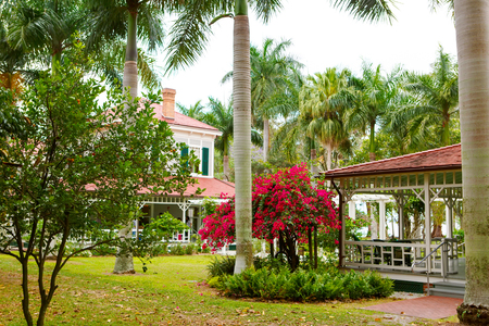 FORT MYERS,FL-APRIL 15 2016: Fort Myers Florida, Thomas Edison and Henry Ford Winter Estates. Main Ford estate house museum. Florida, USA.