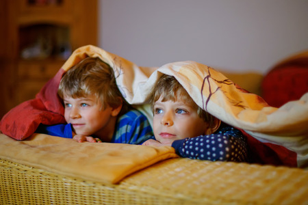 Happy little brothers, adorable kid boys watching television while lying. Funny children enjoying cartoons