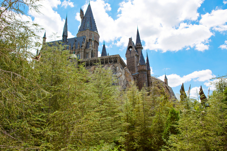 ORLANDO,FL-APRIL 19 2016: Hogwarts Castle, home to Harry Potter and the Forbidden Journey attraction Orlando USA.