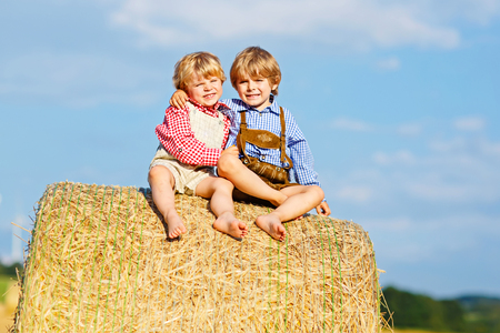 Two little kid boys, twins and siblings sitting on warm summer day on hay stack Stock Photo