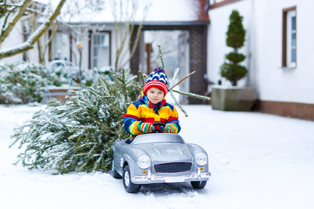 Funny little smiling kid boy driving toy car with Christmas tree. Stok Fotoğraf