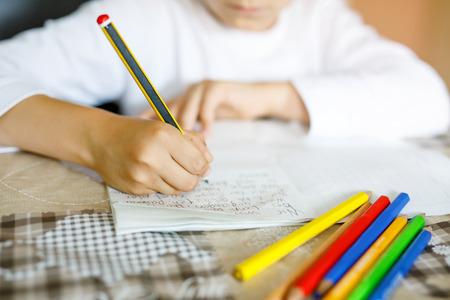 leccion: Niño que hace la tarea y que escribe el ensayo de la historia. Clase primaria o primaria