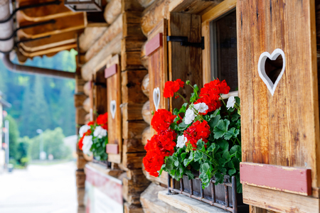 Typical bavarian or austrian wooden window with red geranium flowers on house in Austria or Germany. Stockfoto