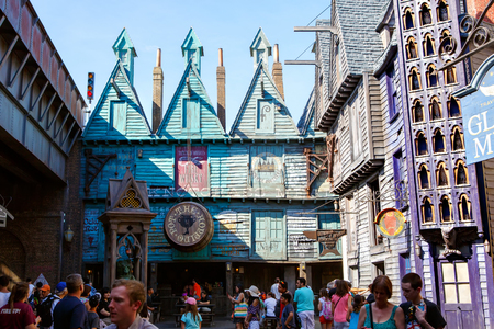 ORLANDO,FL-APRIL 19 2016: Part of Harry Potter world, home to Harry Potter and the Forbidden Journey attraction Orlando USA.